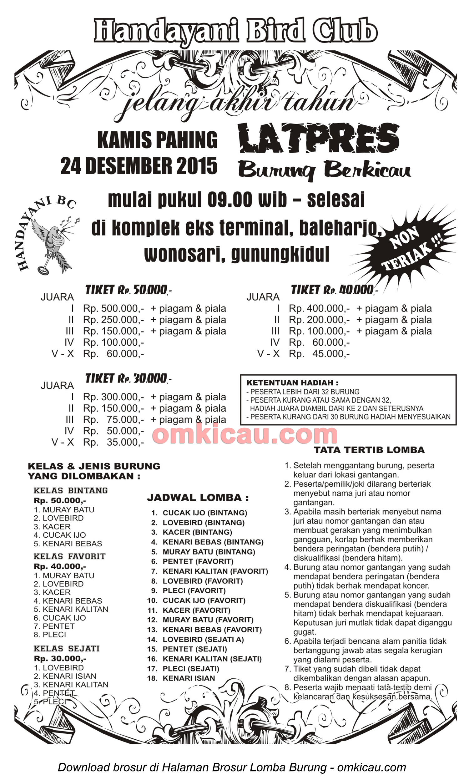 Brosur Latpres Burung Berkicau Handayani BC, Gunungkidul, 24 Desember 2015