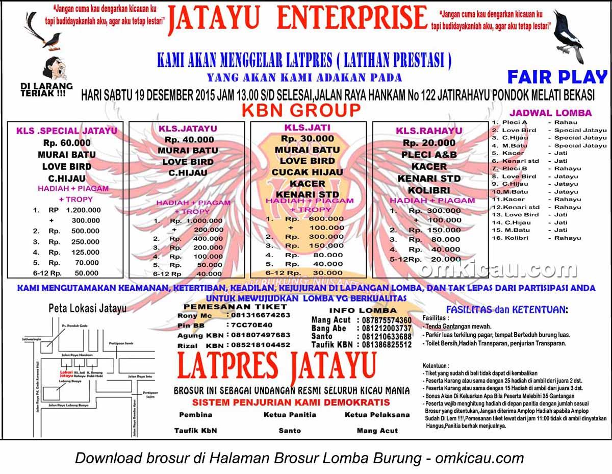 Brosur Latpres Burung Berkicau Jatayu Enterprise, Bekasi, 19 Desember 2015