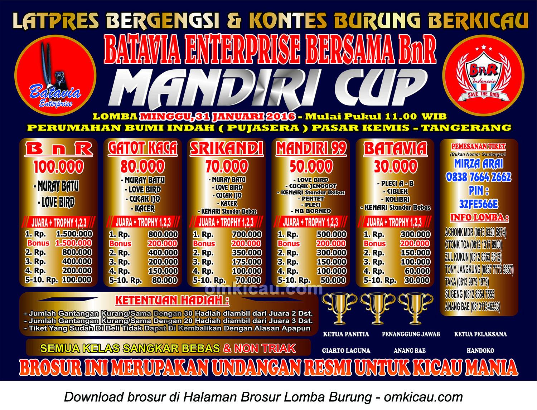 Brosur Latpres Burung Berkicau Mandiri Cup, Tangerang, 31 Januari 2016