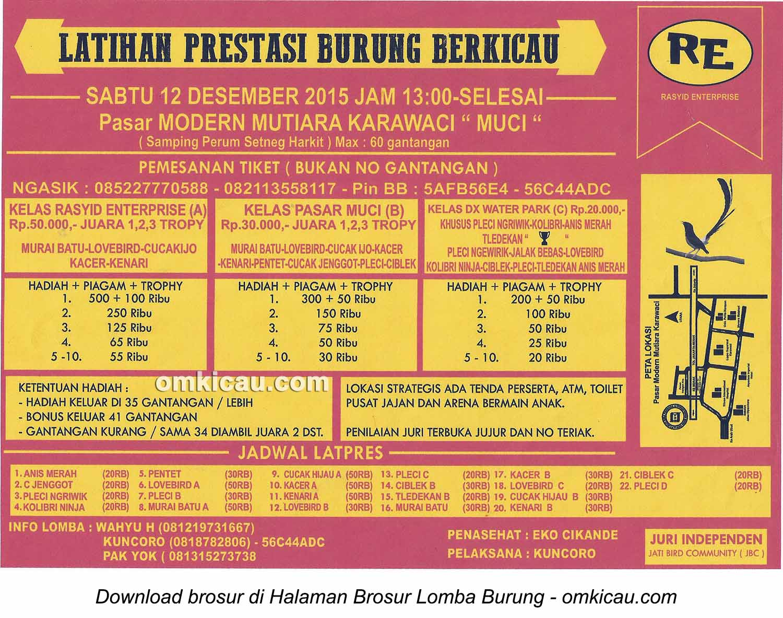 Brosur Latpres Burung Berkicau Rasyid Enterprise, Tangerang, 12 Desember 2015