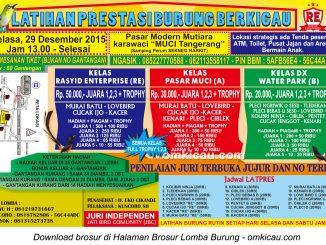 Brosur Latpres Burung Berkicau Rasyid Enterprise, Tangerang, 29 Desember 2015