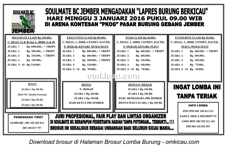 Brosur Latpres Burung Berkicau Soulmate BC, Jember, Minggu 3 Januari 2016