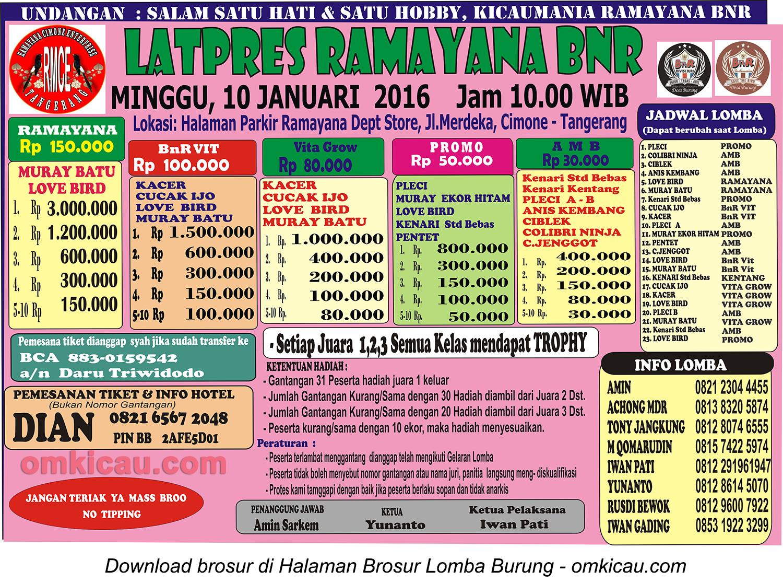 Brosur Latpres Ramayana BnR, Tangerang, 10 Januari 2016