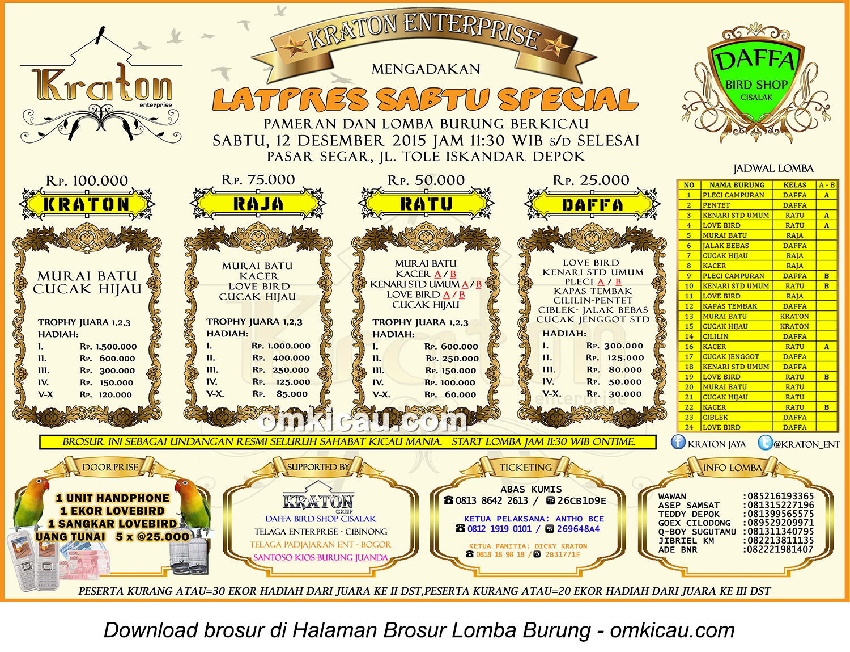 Brosur Latpres Sabtu Special Kraton Enterprise, Depok, 12 Desember 2015