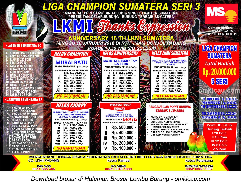 Brosur Liga Champion Sumatera Seri 3 - 16th Anniversary LKMI Sumatera, Padang, 10 Januari 2016