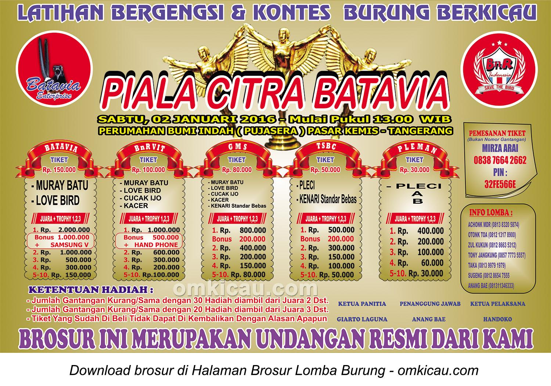 Brosur Lomba Burung Bergengsi Piala Citra Batavia, Tangerang, 2 Januari 2016