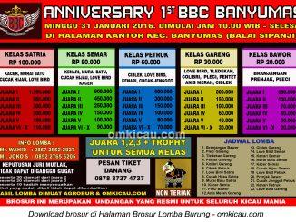 Brosur Lomba Burung Berkicau 1st Anniversary Banyumas Bird Community, 31 januari 2016
