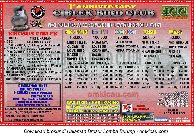 Brosur Lomba Burung Berkicau 1st Ciblek Bird Club, Jakarta Pusat, 17 Januari 2016