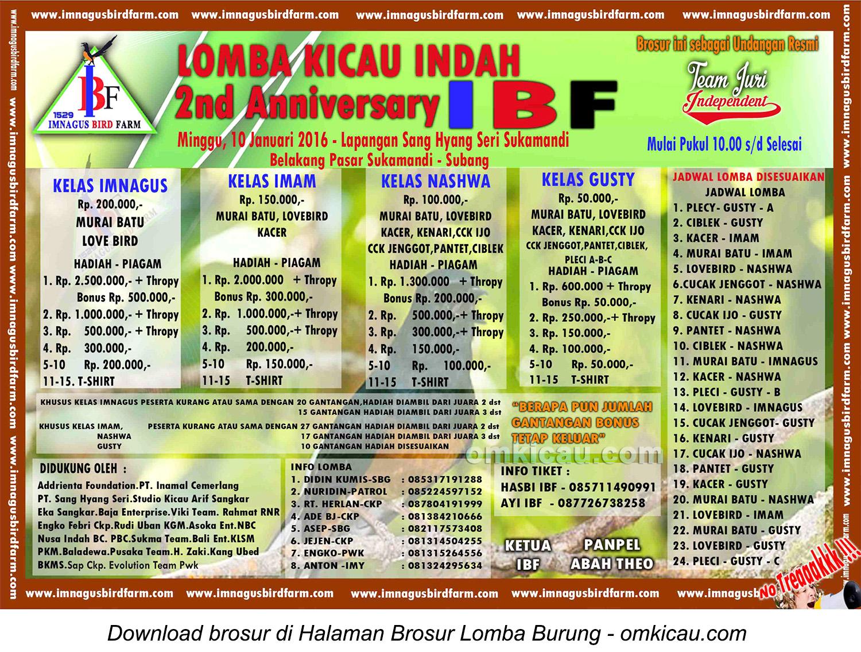 Brosur Lomba Burung Berkicau 2nd Anniversary IBF, Subang, 10 Januari 2016