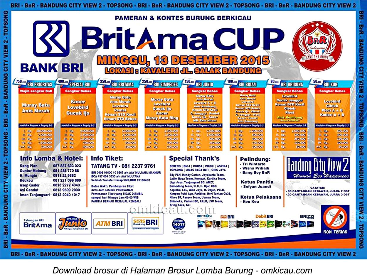Brosur Lomba Burung Berkicau Britama Cup, Bandung, 13 Desember 2015