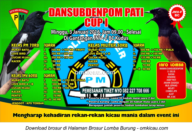 Brosur Lomba Burung Berkicau Dansubdenpom Pati Cup I, Kudus, 3 Januari 2016