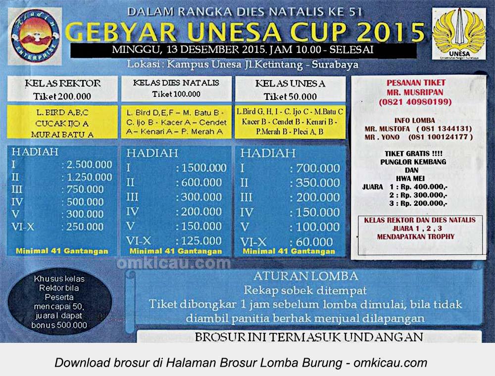 Brosur Lomba Burung Berkicau Gebyar Unesa Cup, Surabaya, 13 Desember 2015