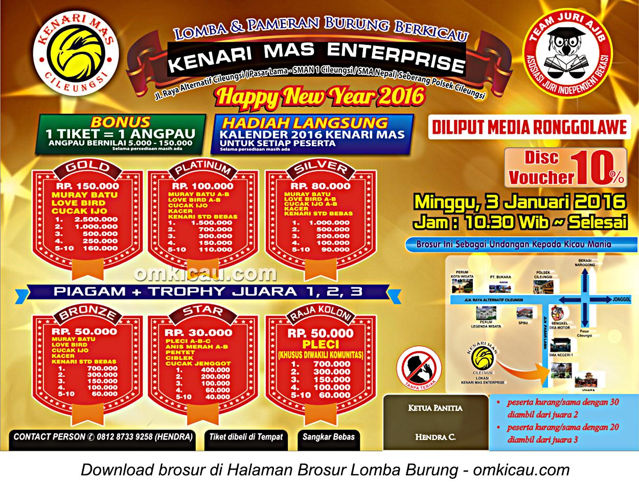 Brosur Lomba Burung Berkicau Happy New Year - Kenari Mas Enterprise, Bogor, 3 Januari 2016
