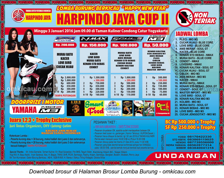 Brosur Lomba Burung Berkicau Harpindo Jaya Cup II, Jogja, Minggu 3 Januari 2016