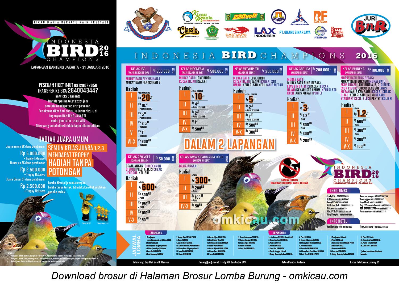 Brosur Lomba Burung Berkicau IBC Cup, Jakarta, 31 Januari 2016