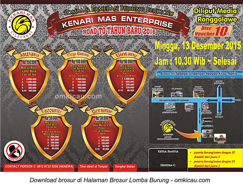 Brosur Lomba Burung Berkicau Kenari Mas Enterprise, Bogor, 13 Desember 2015