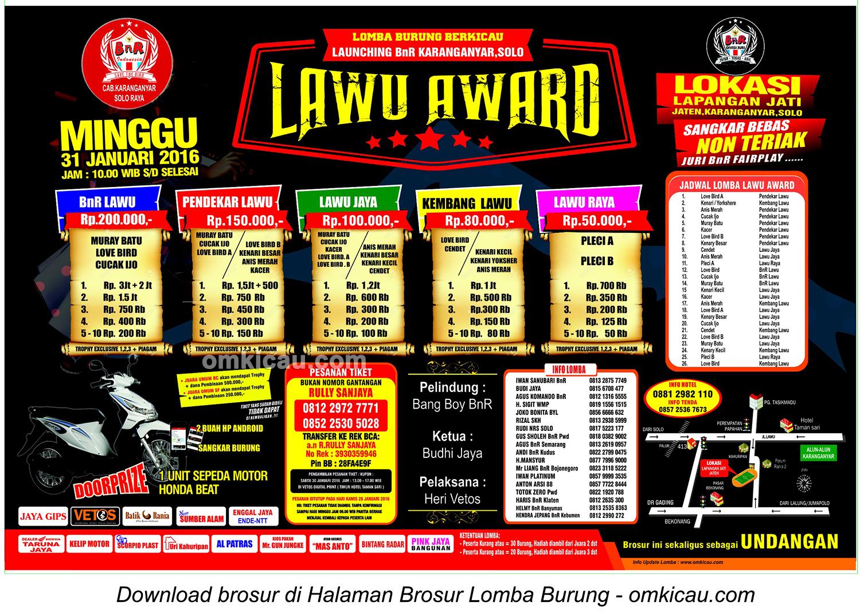 Brosur Lomba Burung Berkicau Launching BnR Karanganyar - Lawu Award - 31 Januari 2016