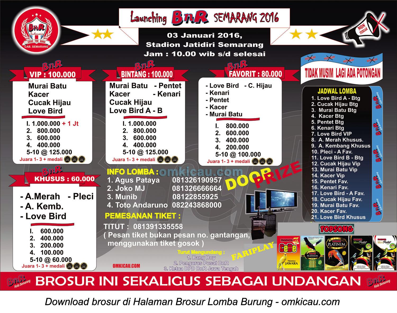 Brosur Lomba Burung Berkicau Launching BnR Semarang, 3 Januari 2016