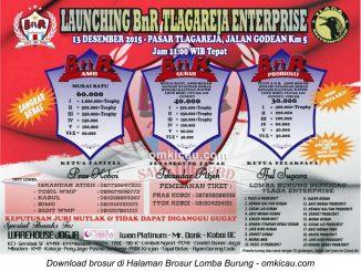 Brosur Lomba Burung Berkicau Launching BnR Tlagareja Enterprise, Jogja, 13 Desember 2015