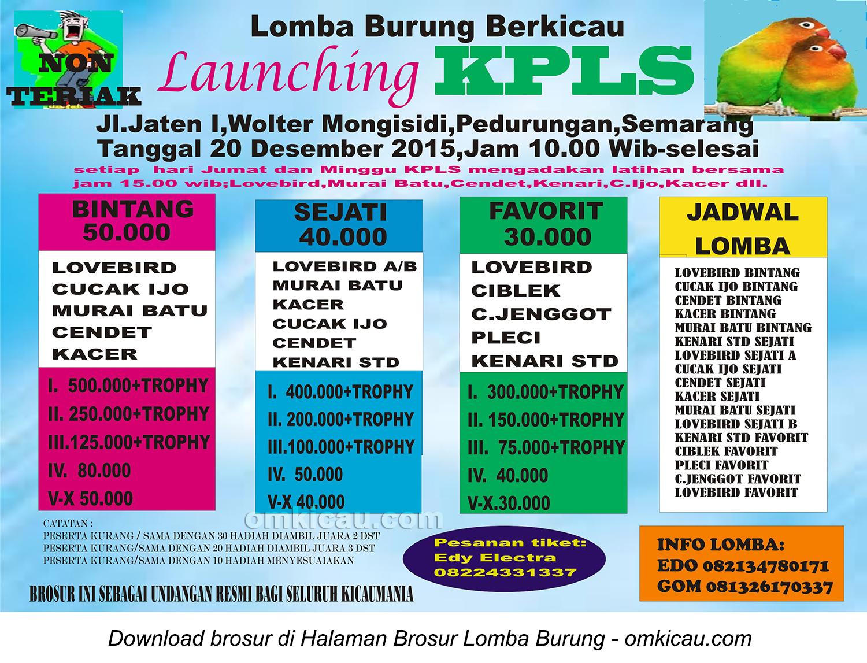 Brosur Lomba Burung Berkicau Launching KPLS, Semarang, 20 Desember 2015