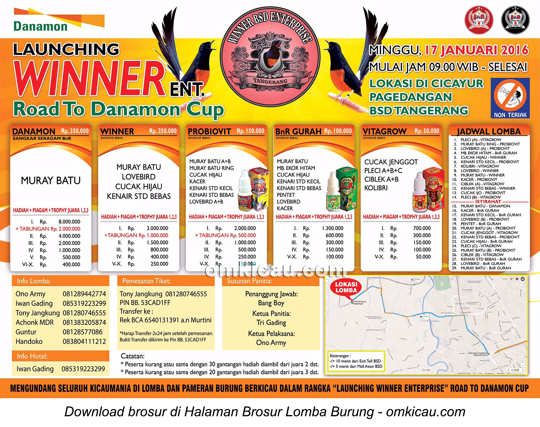 Brosur Lomba Burung Berkicau Launching Winner Enterprise, Tangerang Selatan, Minggu 17 Januari 2016