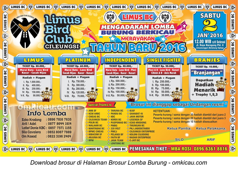 Brosur Lomba Burung Berkicau Merayakan Tahun Baru - Limus BC, Bogor, 2 Januari 2016