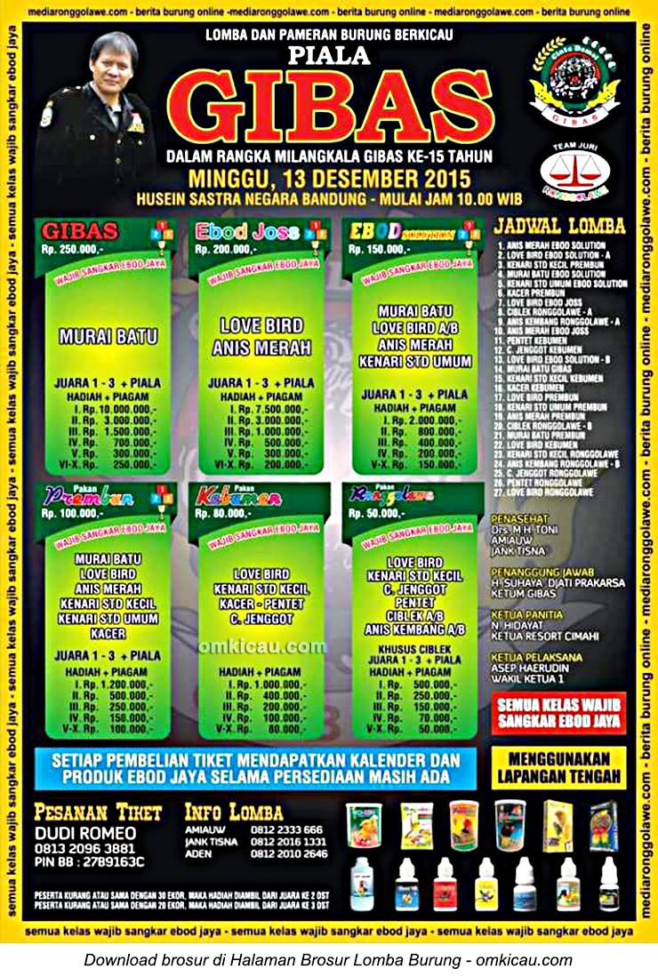 Brosur Lomba Burung Berkicau Piala Gibas, Bandung, 13 Desember 2015