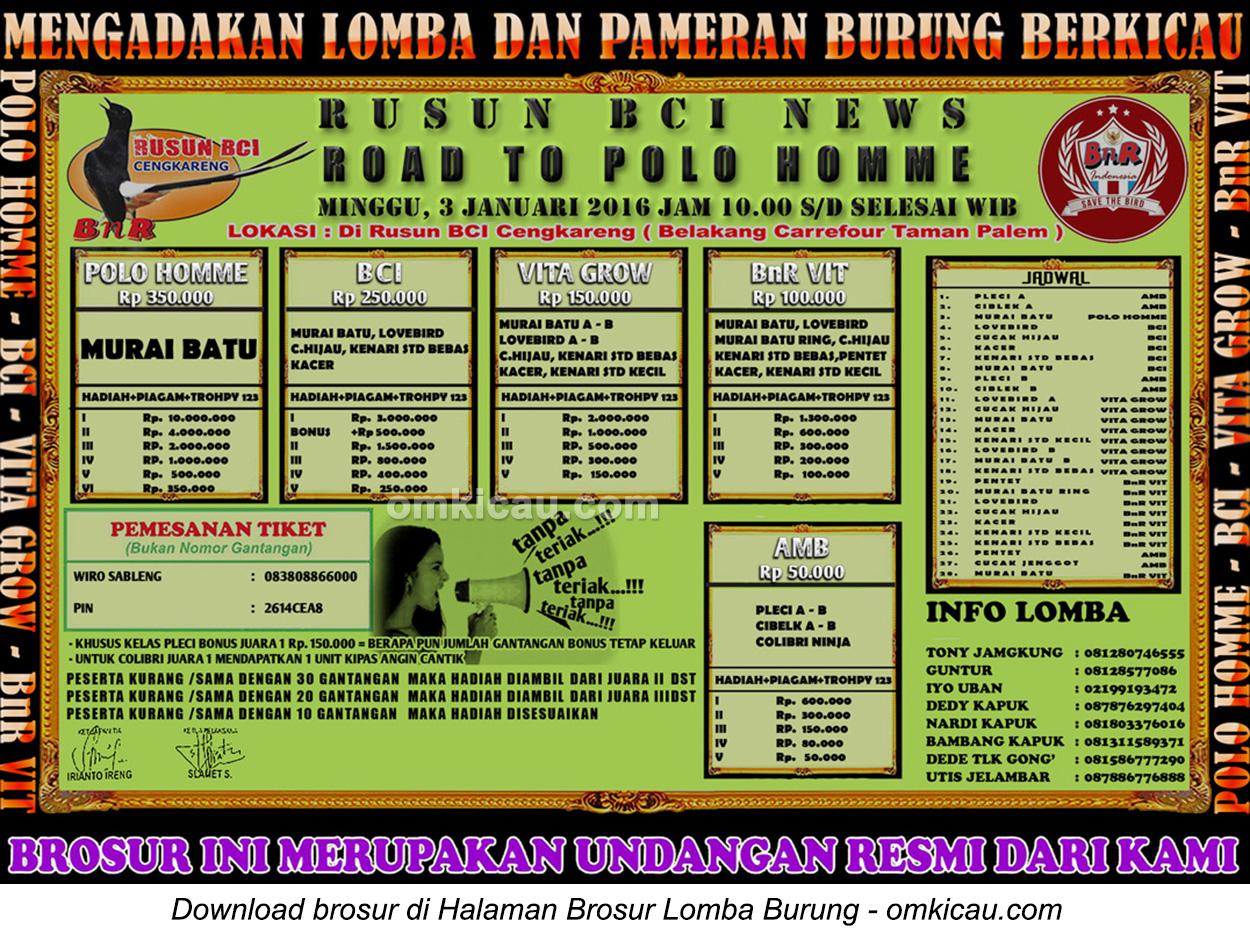 Brosur Lomba Burung Berkicau Rusun BCI News-Road to Polo Homme, Jakarta Barat, 3 Januari 2016