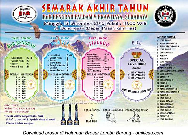 Brosur Lomba Burung Berkicau Semarak Akhir Tahun BnR Bengrah, Surabaya, 13 Desember 2015