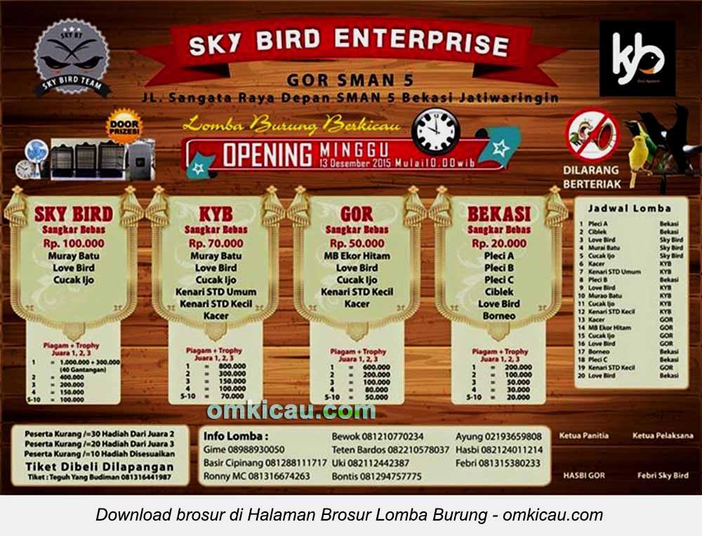 Brosur Lomba Burung Berkicau Sky Bird Enterprise, Bekasi, 13 Desember 2015