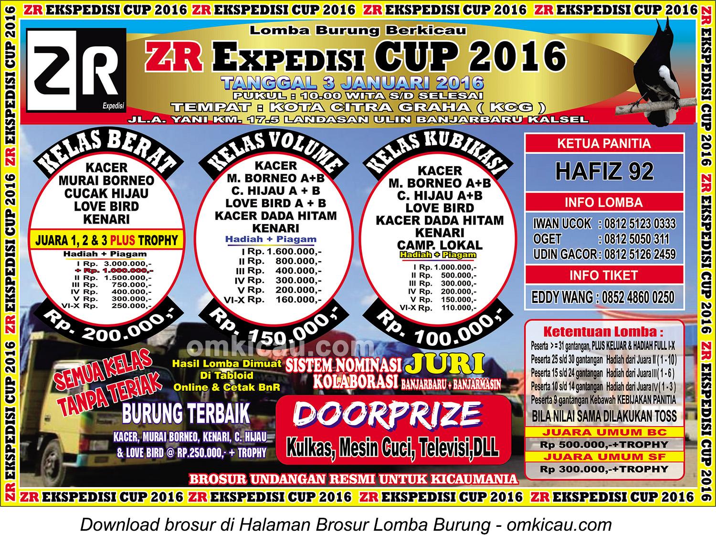 Brosur Lomba Burung Berkicau ZR Expedisi Cup, Banjarbaru, 3 Januari 2016