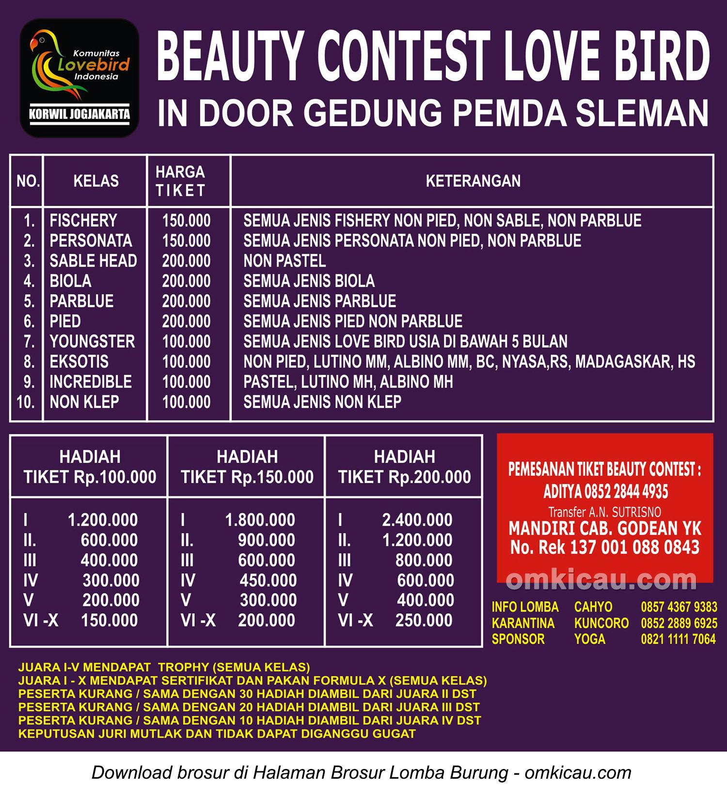 Brosur Lovebird Beauty Contest pada even Valentine Day PBI, Jogja, 14 Februari 2016
