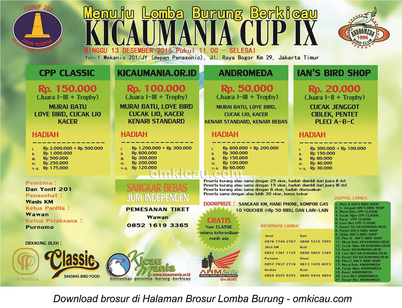 Brosur Menuju Lomba Burung Berkicau Kicaumania Cup IX, Jakarta Timur, 13 Desember 2015