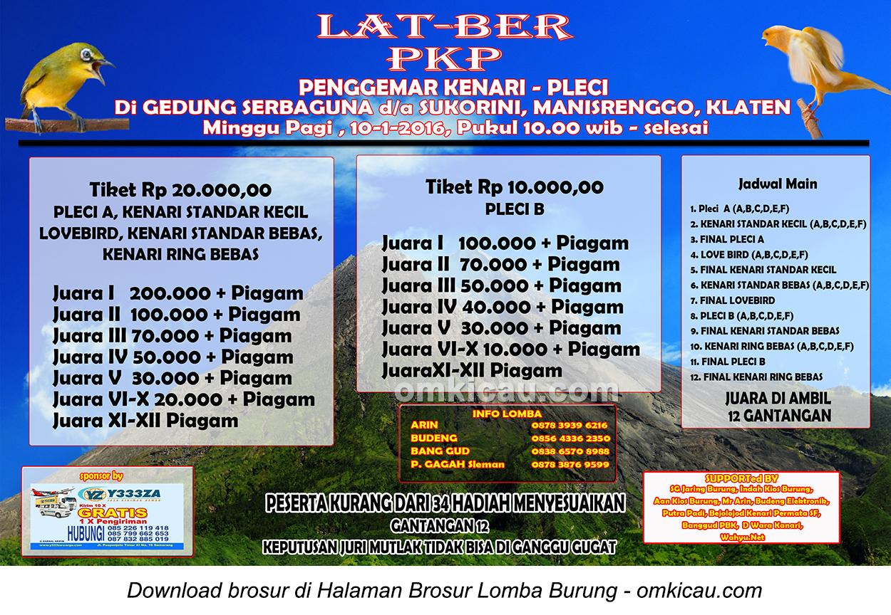 Brosur Latber PKP (Penggemar Kenari-Pleci), Klaten, 10 Januari 2016