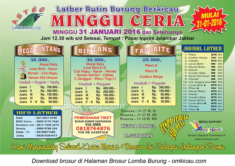 Brosur Latber Rutin Minggu Ceria Asteg Enterprise, Jakarta Barat, 31 Januari 2016
