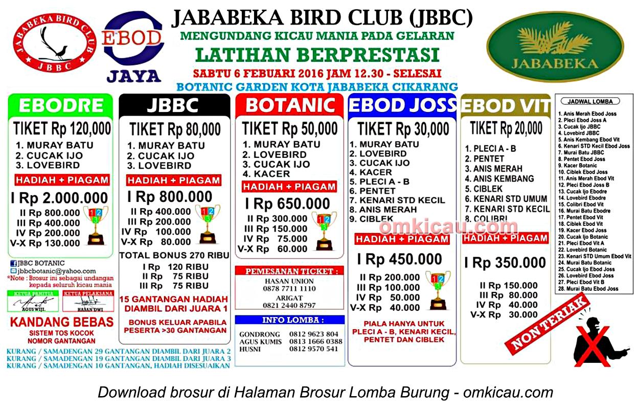 Brosur Latihan Berprestasi Jababeka Bird Club, Cikarang, 6 Februari 2016