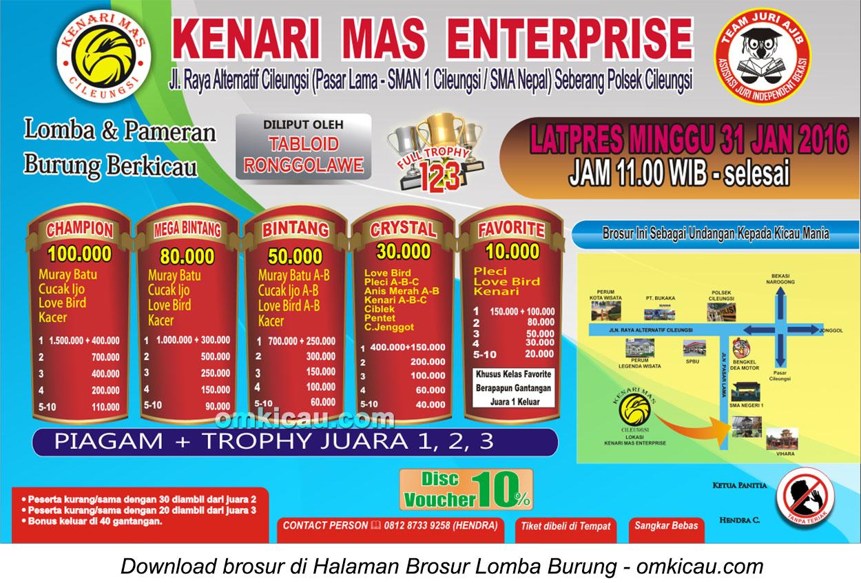 Brosur Latpres Burung Berkicau Kenari Mas Enterprise, Cileungsi, 31 Januari 2016