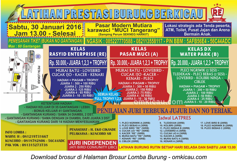 Brosur Latpres Burung Berkicau Rasyid Enterprise, Tangerang, 30 Januari 2016