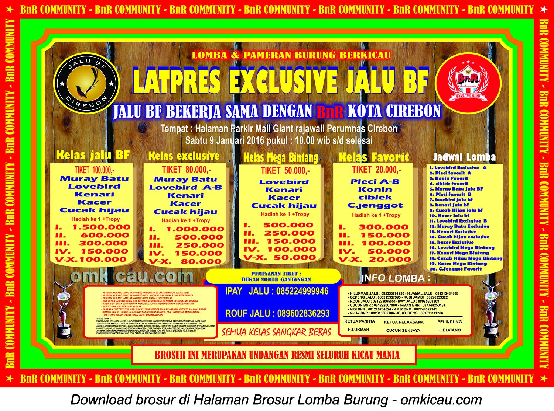 Brosur Latpres Exclusive Jalu BF Cirebon, 9 Januari 2016
