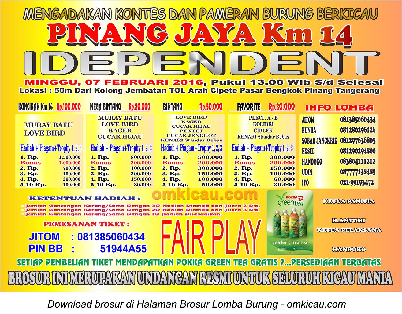 Brosur Latpres Pinang Jaya Km 14 Idependent, Tangerang, 7 Februari 2016