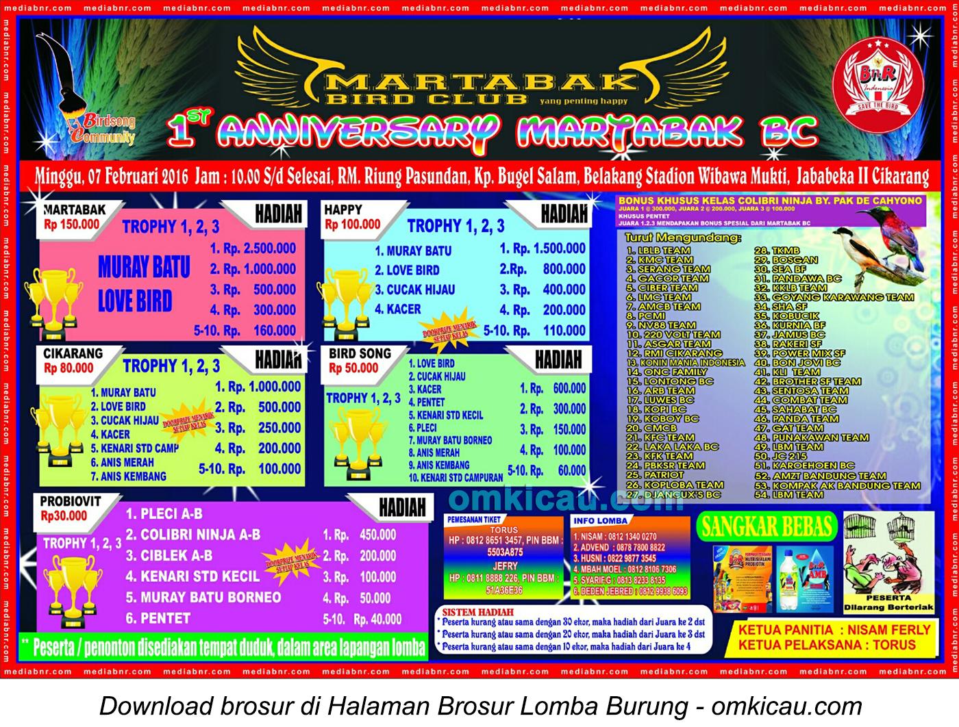 Brosur Lomba Burung Berkicau 1st Anniversary Martabak BC, Cikarang, 7 Februari 2016