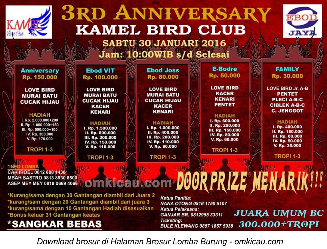 Brosur Lomba Burung Berkicau 3rd Anniversary Kamel BC, Bekasi, 30 Januari 2016