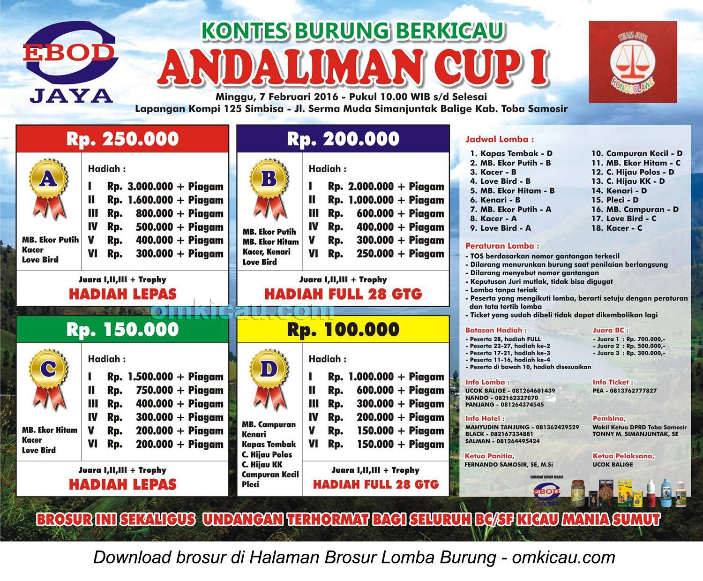 Brosur Lomba Burung Berkicau Andaliman Cup I Balige, Toba Samosir, Minggu 7 Februari 2016