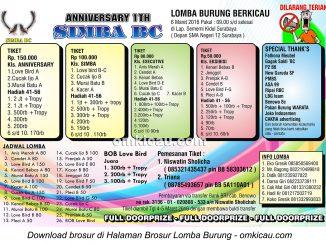 Brosur Lomba Burung Berkicau Anniversary 1Th Simba BC, Surabaya, 6 Maret 2016