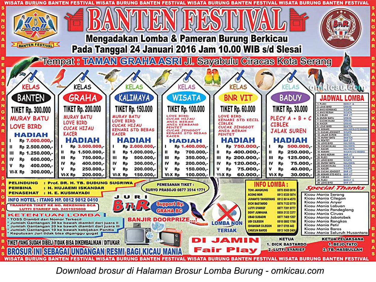 Brosur Lomba Burung Berkicau Banten Festival, Kota Serang, 24 Januari 2016