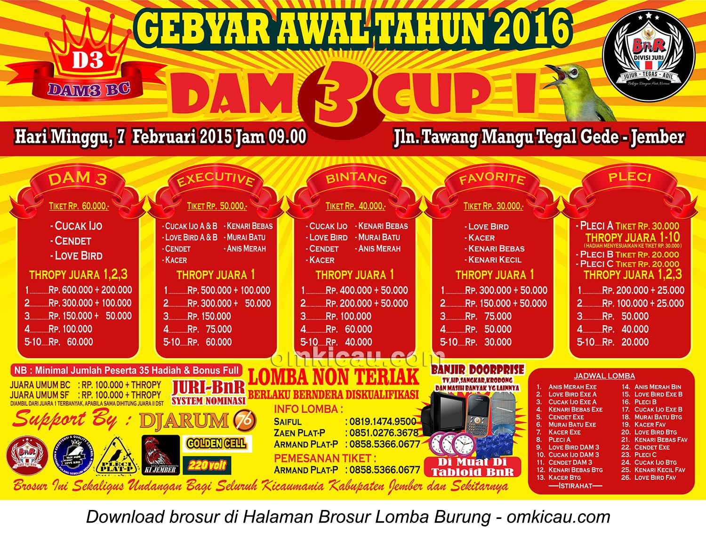 Brosur Lomba Burung Berkicau DAM3 Cup I, Jember , 7 Februari 2016