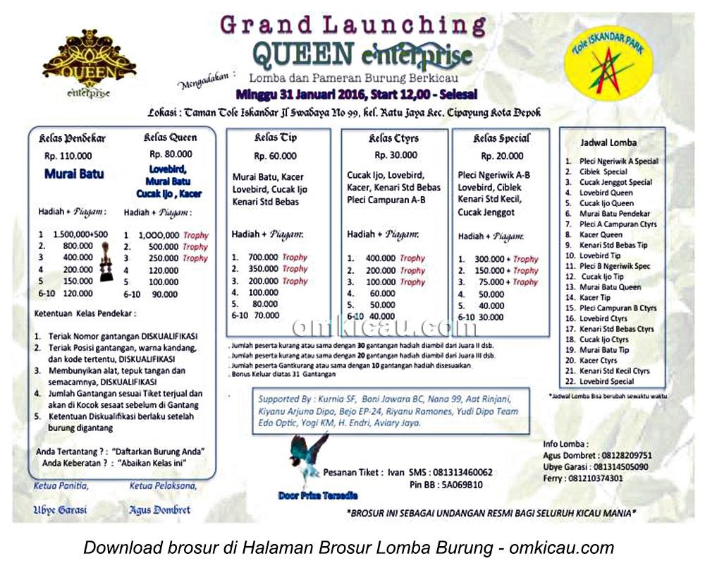 Brosur Lomba Burung Berkicau Grand Launching Queen Enterprise, Depok, 31 Januari 2016