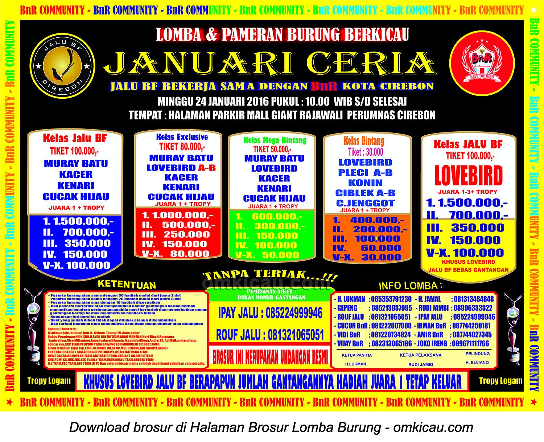 Brosur Lomba Burung Berkicau Januari Ceria Jalu BF, Cirebon, 24 Januari 2016