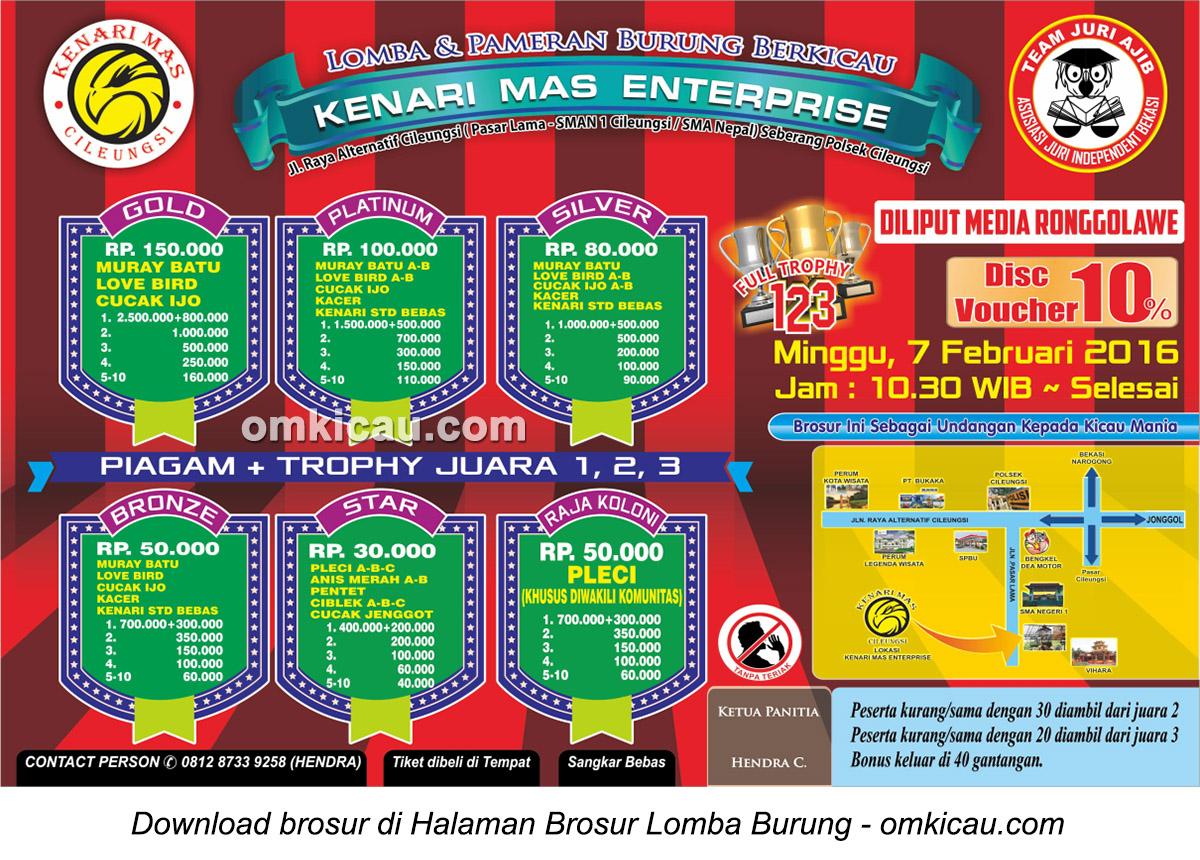 Brosur Lomba Burung Berkicau Kenari Mas Enterprise, Bogor, 7 Februari 2016