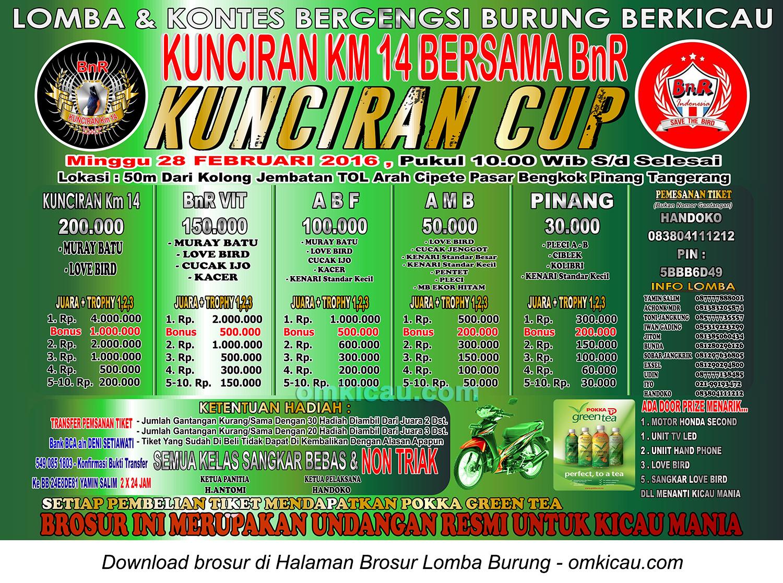 Brosur Lomba Burung Berkicau Kunciran Cup, Tangerang, 28 Februari 2016
